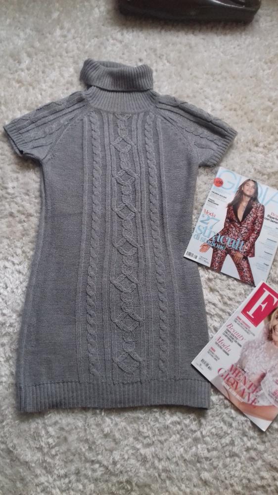 Suknie i sukienki Dzianinowa sukienka z golfem M gratis szalik jak Zara prążek jodełka