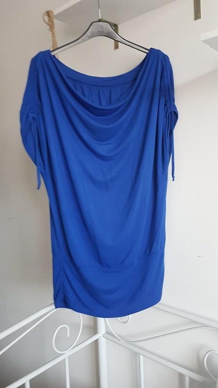 AMISU niebieska luźna bluzka woda...