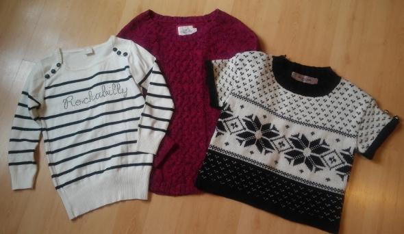 H&M zestaw sweter warkocz fuksja paski 38 M