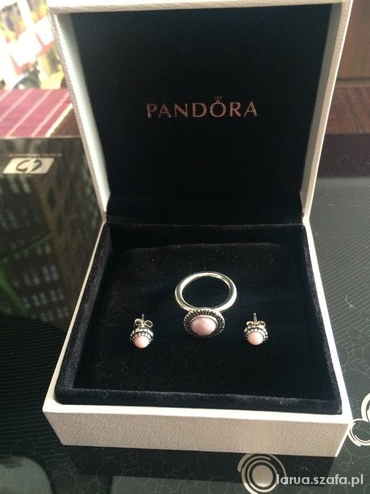 Komplet Pandora kolczyki pierścionek...