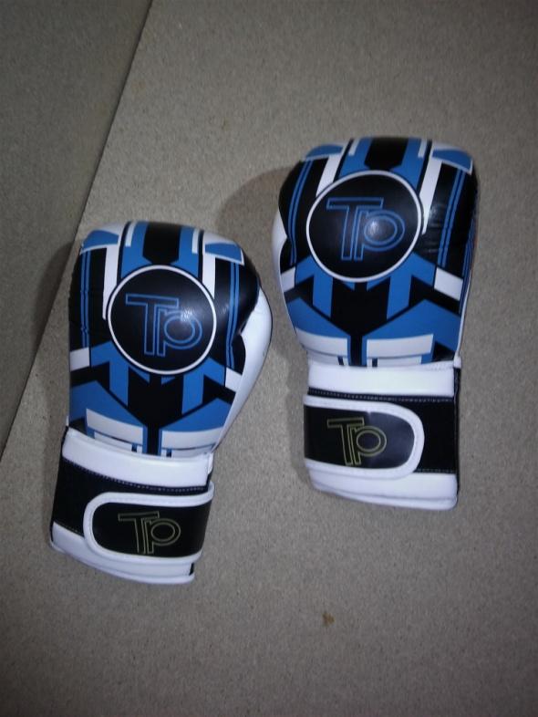 Rękawice bokserskie czarno biało niebieskie 12 oz