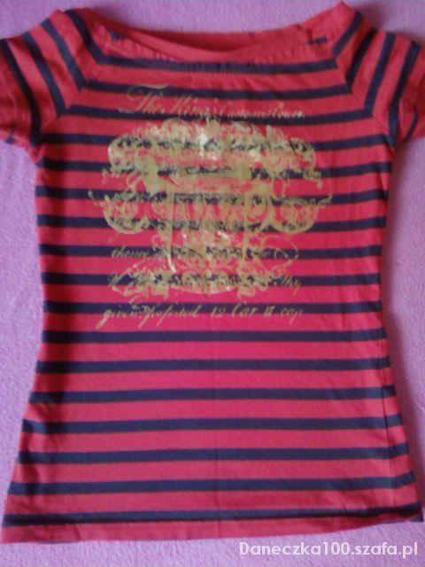 czerwona bluzka pasiak 34 36 jak nowa