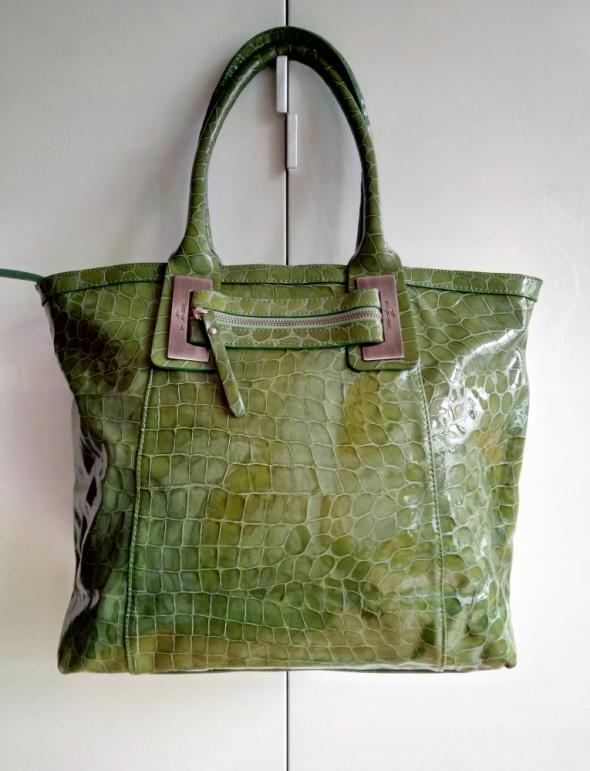 922ce11e77cc1 Bardzo duża torebka skóra naturalna zielona krokodyl w Torebki na co ...