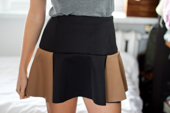 Spódnice Czarno brązowa spódnica z falbaną M L