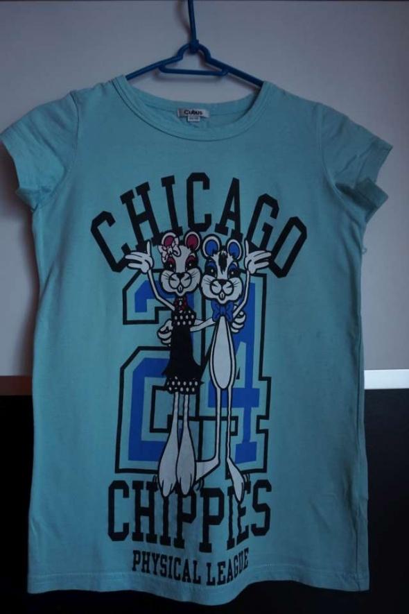 koszulka t shirt błękitna z napisami Cubus 134 140