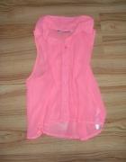 Neon różowa bluzka mgielka bez rekawów z kolnierze