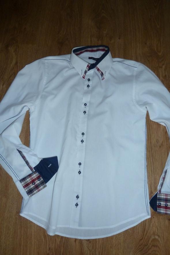 koszula biała rękawy krata