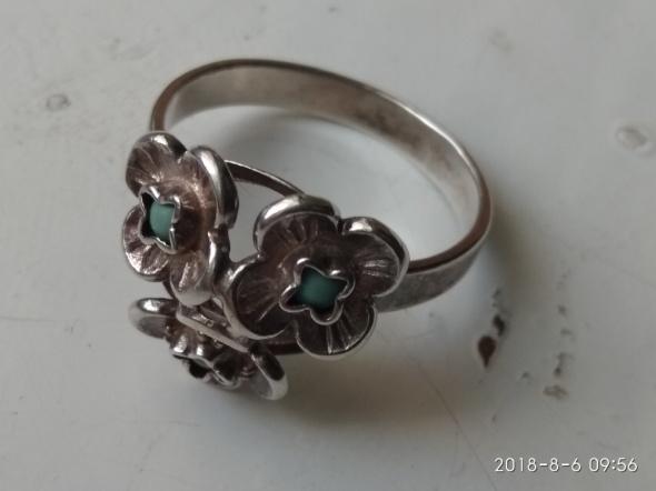 Warmet niezapominajki turkusy zielone stary pierścionek próby