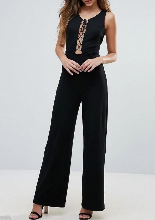 Długi czarny kombinezon wiązany bez rękawów długie nogawki prążkowany