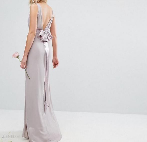 Długa suknia z kokardą asymetryczna tren druhna ślub studniówka