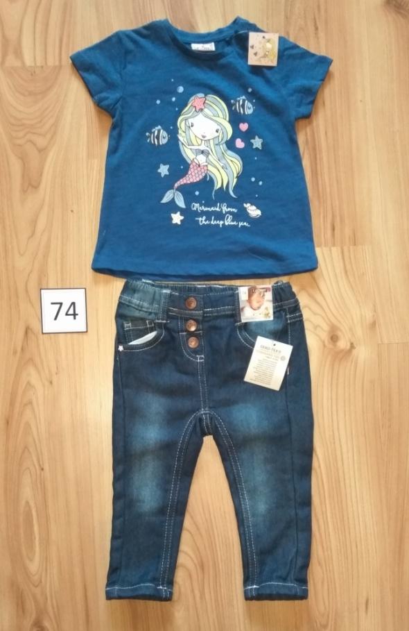 Nowe jeansy dziewczęce spodnie i bluzeczka z krótkim rękawem 74