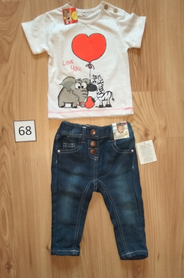 Biała bluzka z krótkim rękawem i jeansy spodnie dziewczęce 68