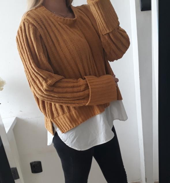 Primark sweter z koszula musztardowy XL