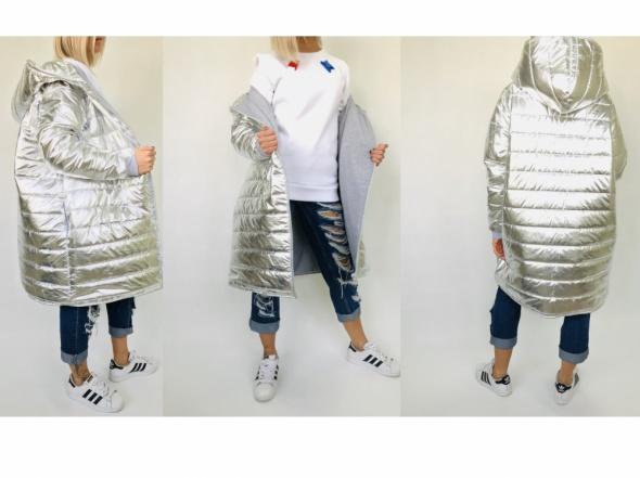 srebrny płaszcz kurtka pikowany duży obszerny oversize silver