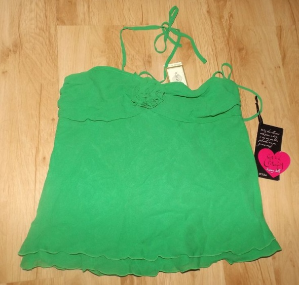 Nowa jedwabna koszulka La Senza L zielona...