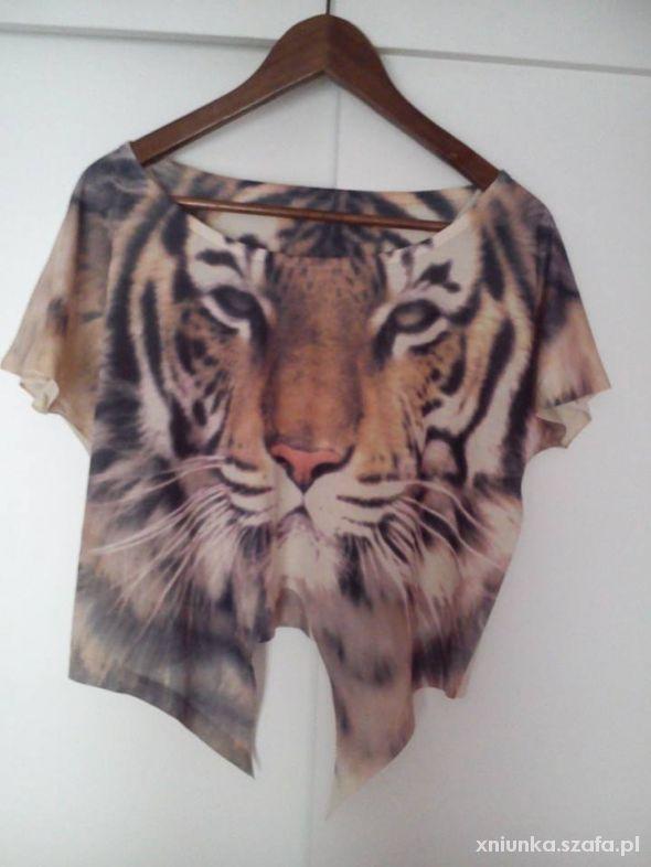 Lew Animal Wild krótka bluzka koszulka top oversiz