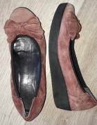 skórzane platformy baleriny włoskie 37...