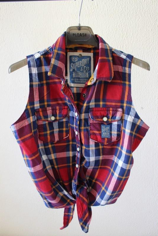 bawełniana koszula w kratę bez rękawów s