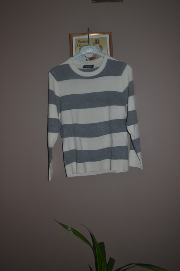Męski sweterek Nowy S XS szaro biały w paski M