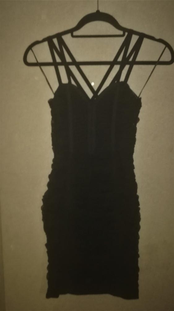 H&M Czarna tiulowa mini sukienka 34