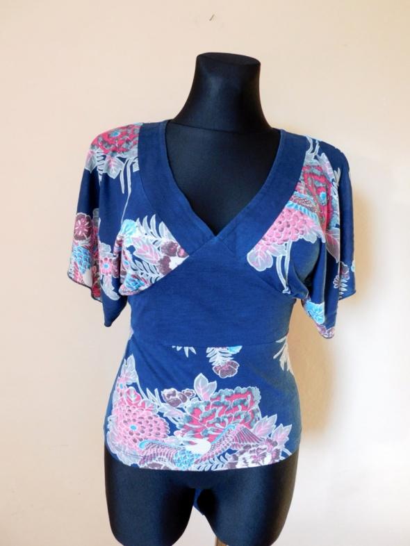 Oasis turkusowa bluzka w kwiaty nietoperz 38...