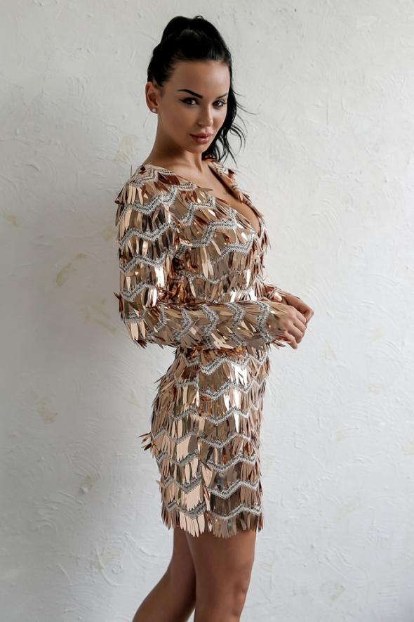 c1e343a547 Suknie i sukienki Sukienka Gold Sparkle rozm od S do XL cekinowa sylwester  NOWA