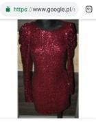 Sukienka czerwona bordo cekiny...