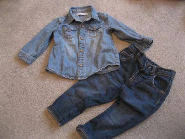 zestaw spodnie rurki i koszula jeans ZARA 74 niebieska