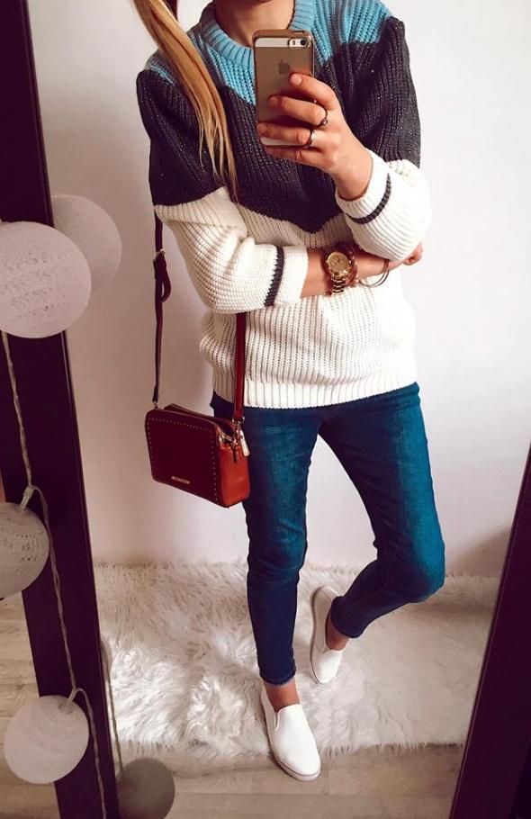 Sweter Damski w paski pulower L