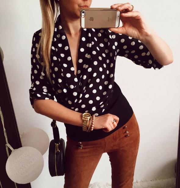 Czarna bluzka Damska w kropki M