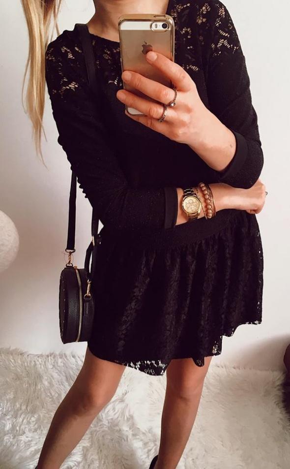 Czarna Sukienka Damska koronkowo brokatowa M
