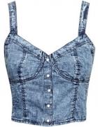 h&m crop top jeans 34 xs acid wash marmurkowa