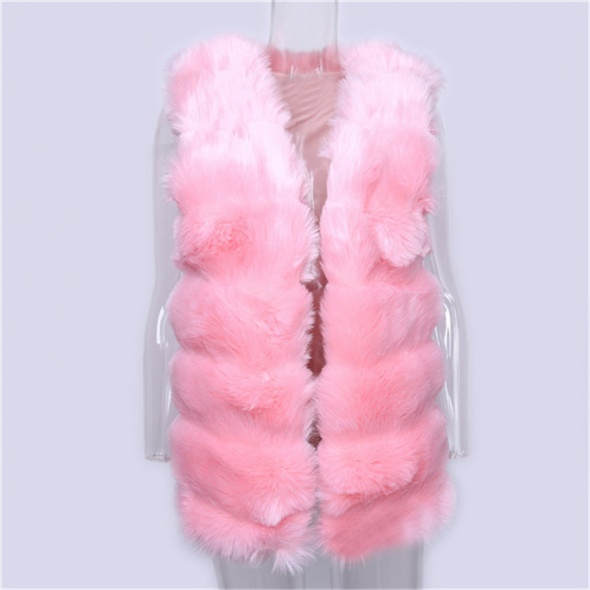 Futrzana różowa kamizelka