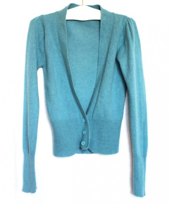 Pastelowy elegancki kardigan sweterek angora...