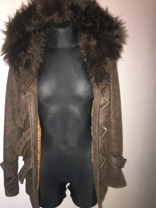 Kożuszek kurtka z futerkiem brąz M na L