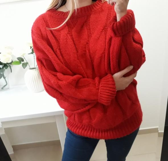 Primark sweter czerwony oversize ciepły M