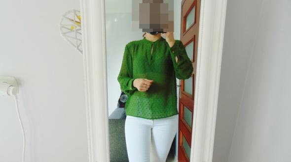 Asos bluzka w kropeczki butelkowa zieleń