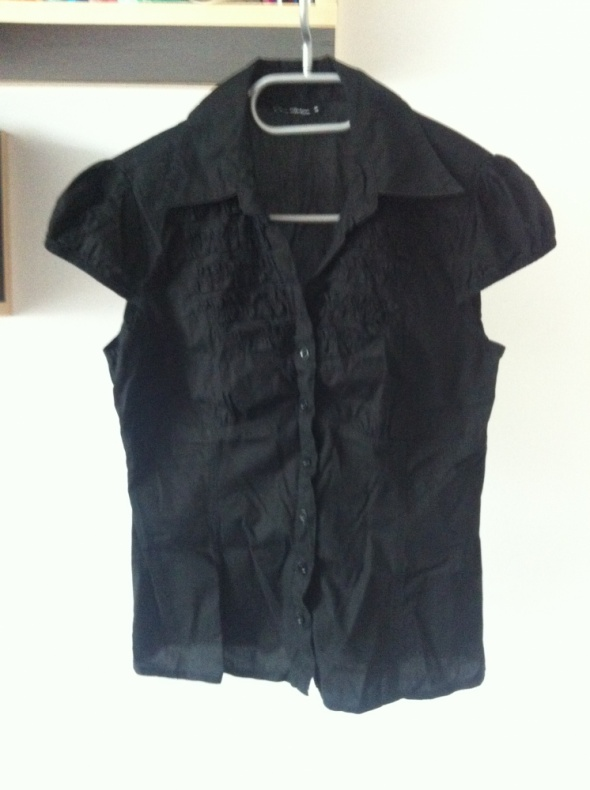 Czarna koszula elegancka klasyka krótki rękaw 36 S...