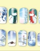 Zestaw naklejek wodnych Zima Śnieg Naklejki wodne Boże Narodzen...