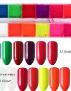 Pigmenty do paznokci 12 sztuk neon mieszanka...