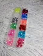Ozdoby na paznokcie hybryda żel kawałki kolorowe zestaw box...