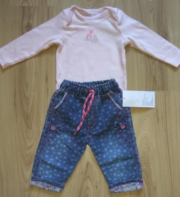 Różowe body sarenka i spodnie jeansowe 68