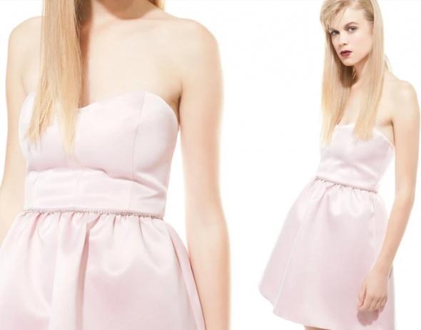 Bershka pudrowa sukienka gorset owa z cyrkoniami...