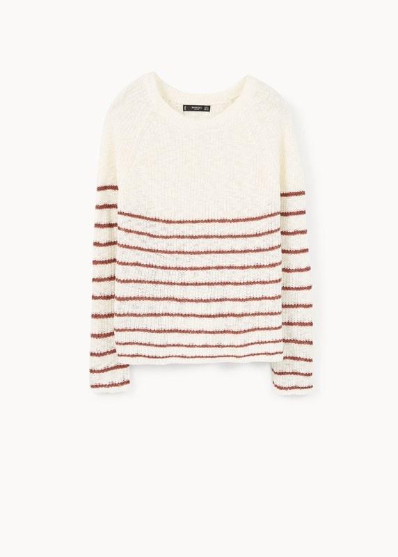 Biały sweter w bordowe paski nowy z Mango M