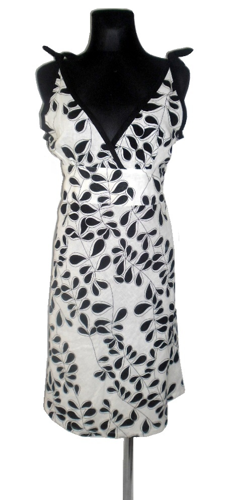 CREEM lniana czarno biała sukienka r 42
