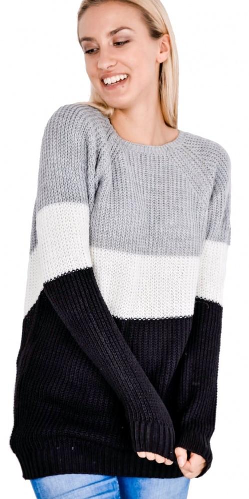 Dłuższy ciepły pleciony sweter Uni kolory...