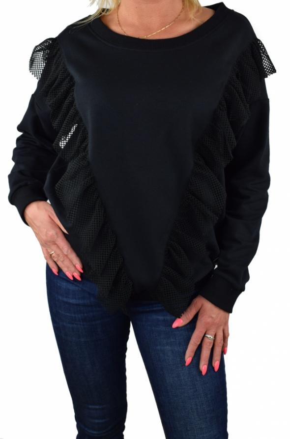 Czarna luźna bluza dresowa z falbanką mi mi...
