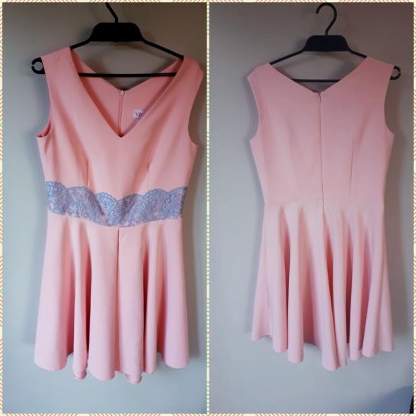 Sukienka pudrowy róż XL L wesele poprawiny okazja l studniówka