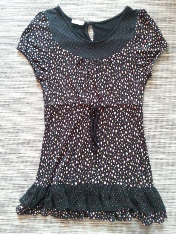 Czarna sukienka tunika w kwiatuszki Papaya L...