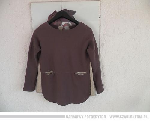 Włoska bluzka sweter bluza złote wstawki kieszenie